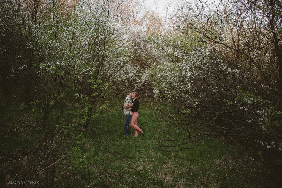 sesja narzeczenska w sadzie